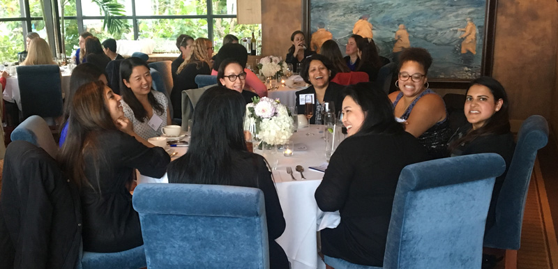 Table of women at mentoring event